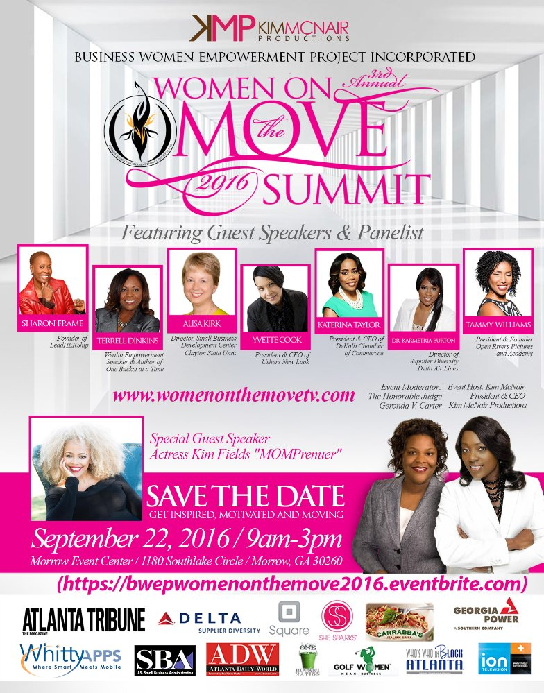 Kim addresses MOMPreneurs at the Women on the Move Summit, 2016.