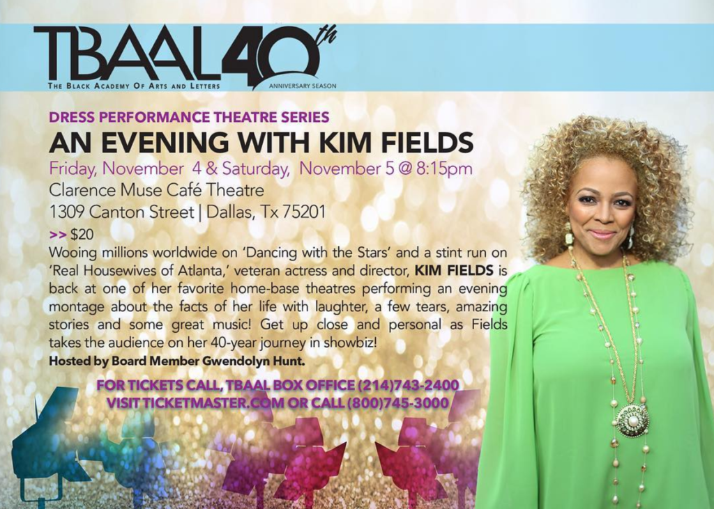 Kim Fields performs at Dallas's Clarence Muse Cafe Theatre