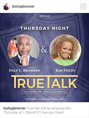 Kim is a guest at World of Faith Family Worship Cathedral with Pastor Dale C. Bronner