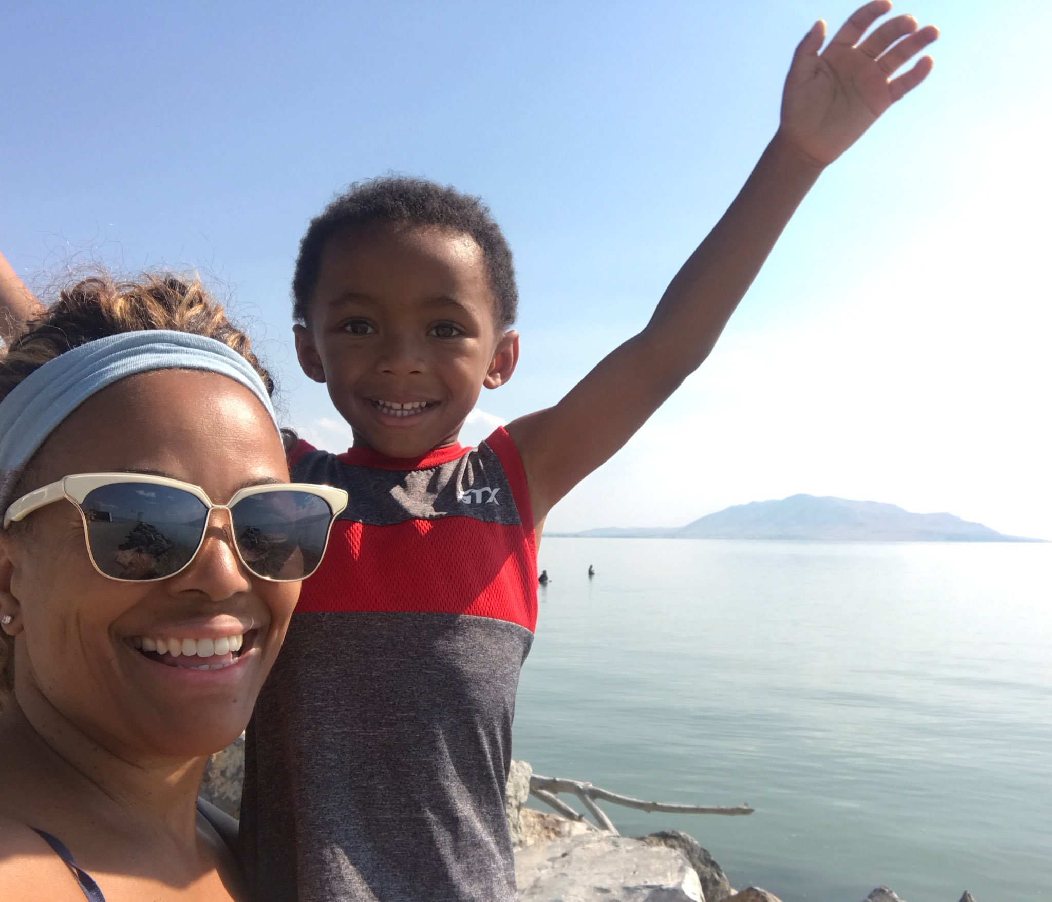 Kim enjoys the brilliant weather in Utah with her youngest son.