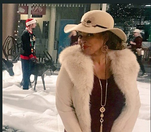 Kim on the set of Secret Santa in Utah