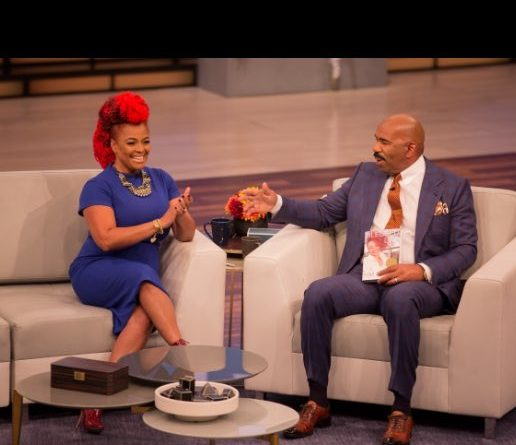 Steve Harvey interviewed Kim Fields on his talk show.