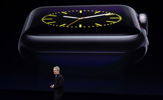 Apple CEO Tim Cook shows off the Apple Watch