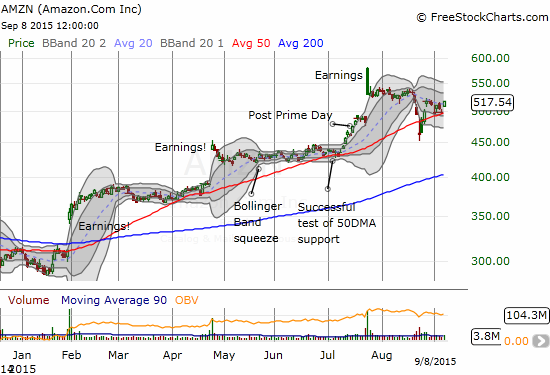 Amazon.com retains the stripes of a leader as the 50DMA line of support holds through most of the oversold period.