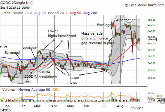 Google (GOOG) is stumbling but clinging to its market leader position as the 50DMA holds as support and post-earnings gains are recovering.