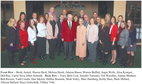 The staff at the headquarters of Berkshire Hathaway, Inc. (Christmas time?)