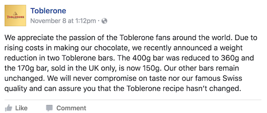 The plunge in the pound has apparently impacted the size of iconic Toblerone bars offered in the UK (and fans are upset!)