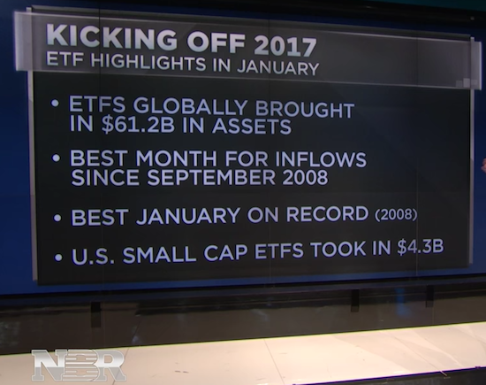 Strong ETF fund flows across the globe in January, 2017.