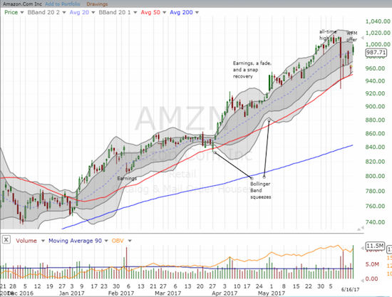 """Amazon.com (AMZN) essentially purchased WFM for """"free"""" with a 2.4% gain in its stock as a reward for offering to buy WFM. AMZN's 50DMA survived as a firm support for the swoon in big cap tech stocks."""