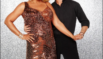 Kim and Sasha cast pose for Dancing With the Stars
