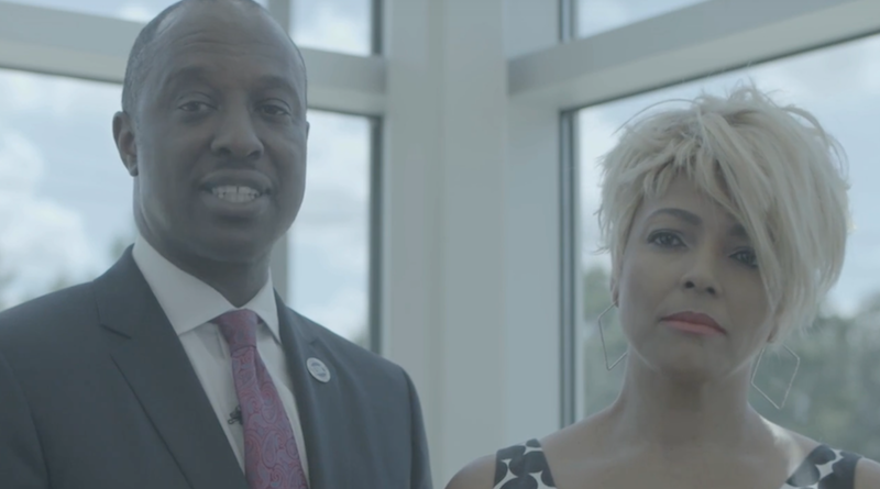 Kim Fields joins Ron Busby, President and CEO of U.S. Black Chambers, Inc., to promote Bank Black.