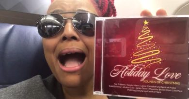 On her way to St. Lucia, Kim promotes the new musical CD for her Holiday Love Christmas special