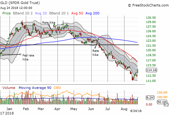 The SPDR Gold Shares (GLD) jumped 1.8% in a move the sharply departed from the previous pullback. The downtrending 50DMA resistance looks like it is in play.