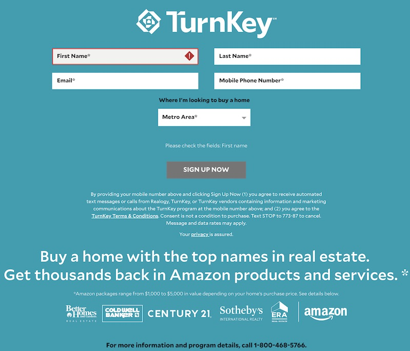 Realogy's TurnKey Sign-Up page requires just basic information but promises to flood a user with marketing messages.