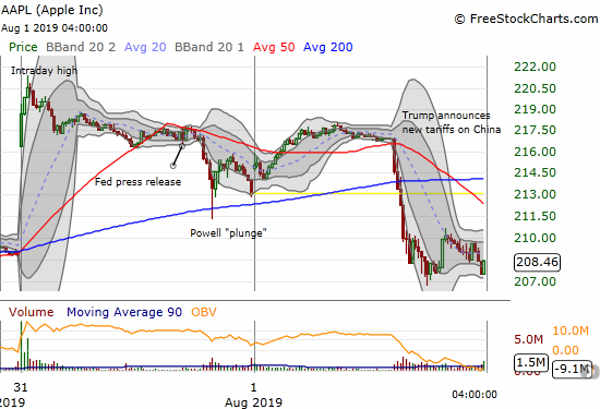 The Apple (AAPL) 5-minute intraday chart shows the wild post-earnings swings for the stock in just two trading days.