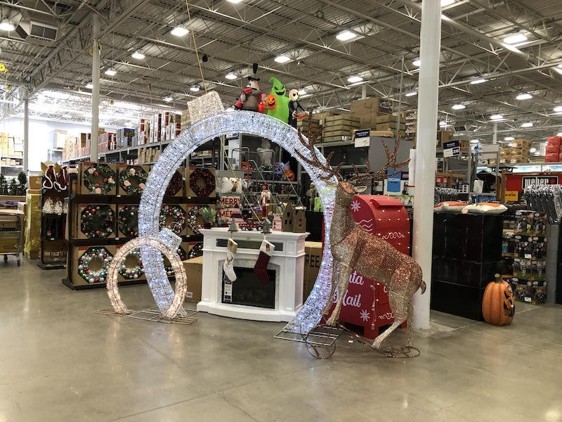 Lowe's Companies (LOW) has a very confusing holiday display combining Halloween and Christmas.