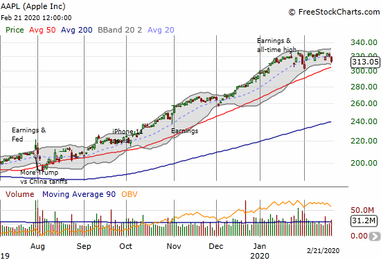 Apple (AAPL) initially bounced right back from post-warning selling but closed the week at a 3-week low.