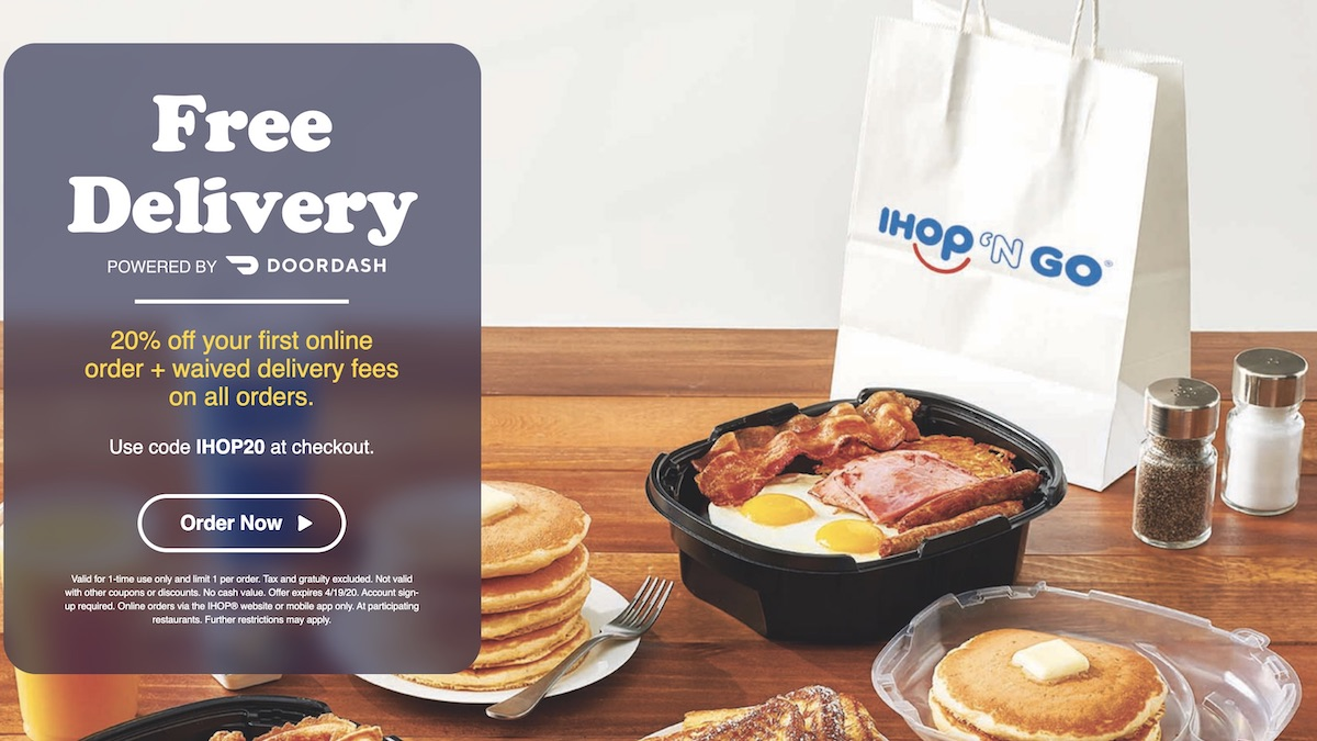IHOP is offering free delivery and incentives for on-line ordering.