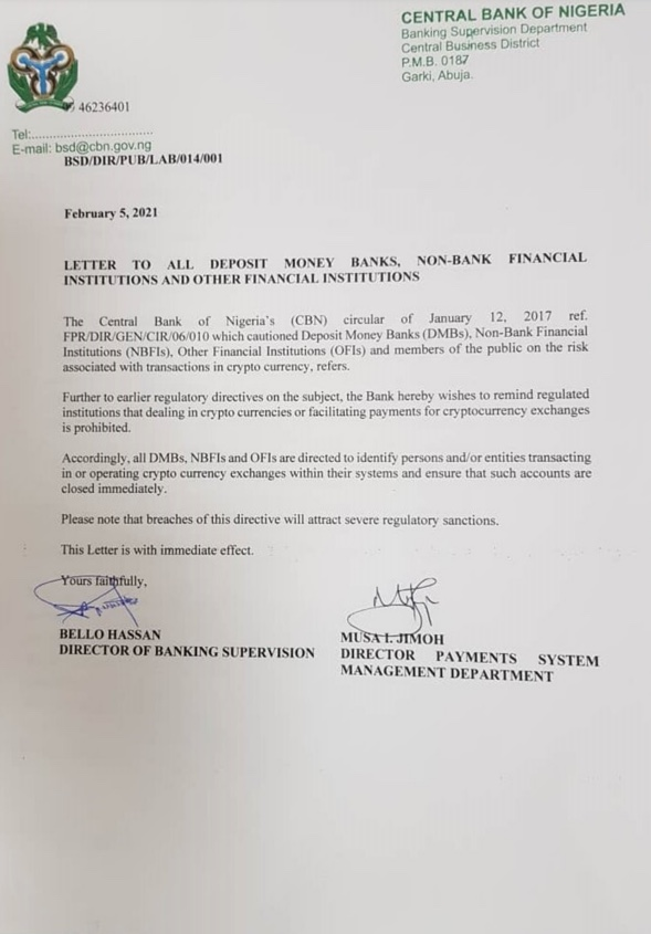 Central Bank of Nigeria letter on cryptocurrency